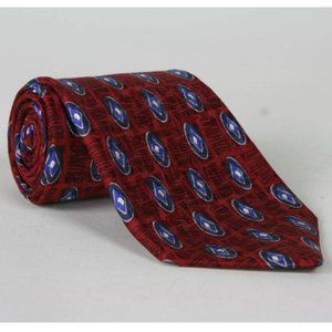 Vtg Tom James Red/Blue Geometric Silk Wide Necktie